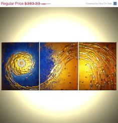 ORIGINAL Painting, Contemporary Abstract Art, Blue Gold Night Star, Textured PAINTINGS by Lafferty - 48x20 - 22% Off Sale