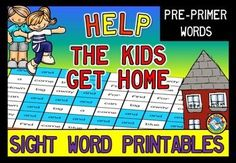 20% OFF FOR A LIMITED TIME!   This PRINT AND GO fun pack, containing 10 worksheets, is ideal to practice sight word recognition in a fun way. Students have to help the kids find their way home by coloring all the boxes with a particular sight word.  All you have to do is print and copy! Children will surely love these sight word worksheets! In this resource you can find a worksheet for each of the following pre-primer words: a and away big blue can come down find for