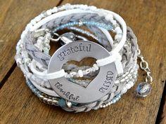Stamped Leather Bracelet GRATEFUL THANKFUL BLESSED Multi Wrap Bracelet Beaded Wrap Bracelet Braided Leather Wrap Bracelet Inspirational Wrap