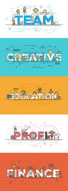 Set of Flat Line Color Banners Design Concept on Behance
