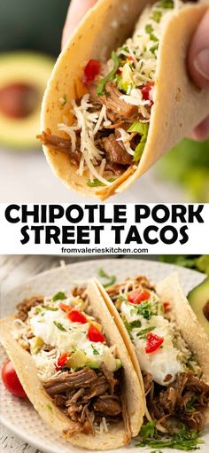 Tender, flavorful shredded pork is the star of these Chipotle Pork Street Tacos. This versatile shredded pork is delicious in a wide variety of Mexican-inspired dishes. #streettacos #shreddedpork #pork #mexicanfood #mexicanrecipes #tacos #porktacos
