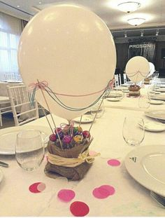 this would be a cute idea for a baby shower/gender reveal party! Have the guests count, and all poke the balloons and have colored confetti fly out. Fiesta Party, Baby Party, Balloon Decorations, Table Decorations, Baby Boy Shower, Party Planning, Party Time, Diy And Crafts, Centerpieces