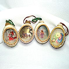 4 Real Egg Shell Diorama Scene Christmas Ornaments