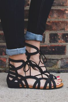 Black Gladiator Style Caged Lace Up Sandal Julian-s – http://UOIOnline.com: Women's Clothing Boutique