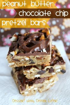 {Dessert Now, Dinner Later!} Peanut Butter Chocolate Chip Pretzel Bars - chunky cookie bars that satisfy both your sweet & savory tastes.