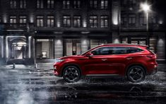 Download wallpapers Chery Exeed TX, 4k, 2018 cars, crossovers, road, new Exeed, Chery
