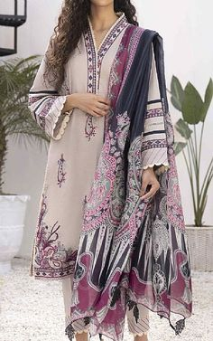 Beige Dobby Lawn Suit | Buy Sapphire Pakistani Dresses and Clothing online in USA, UK Pakistani Dresses Online Shopping, Suits Online Shopping, Fashion Pants, Fashion Dresses, Pakistani Lawn Suits, Add Sleeves, Lawn Fabric, Pakistani Designers, Dobby