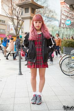 Pink-haired Harajuku Girl in Plaid Dress