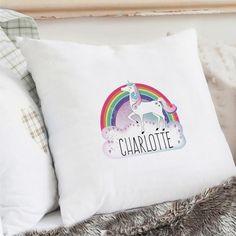 Personalised Unicorn & Rainbow Cushion Cover https://harringtons-gift-store.co.uk/products/personalised-unicorn-rainbow-cushion-cover
