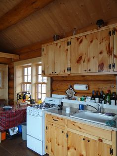 these look like the inexpensive knotty pine cabinets at McCoy...  Tiny House Swoon   gunflint-lake-cabin-6