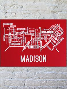 Madison, Wisconsin Street Map Poster | School Street Posters