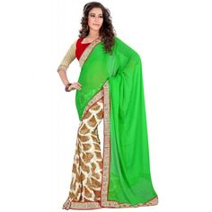 Ravishing Green Chiffon Printed Saree with Red color Blouse. It contained the work of Printed wth Lace border. The Blouse can be customized up to bust size 44