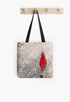 """The red cardinal in winter"" Tote Bag by Savousepate on Redbubble #totebag #bag #redcardinal #bird #snow #frost #red #grey #gray #watercolorpainting"