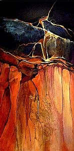 "Grand Canyon 1, 06308 by Carol Nelson Acrylic ~ 48 x 24  My abstract work is usually done in acrylic and often with mixed media materials such as rice paper, metals, metal foils, and texture mediums.  These paintings often take on a geologic appearance, so I like to call them ""geologic abstracts."""