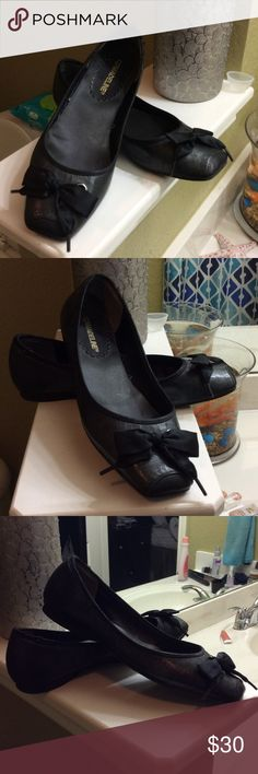 Madeline flats Madeline size 9 black flats with ribbon bow. Madeline Stuart Shoes Flats & Loafers