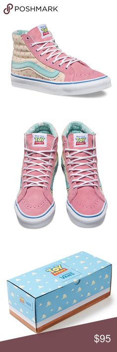 """✨Bo Peep Vans TOY STORY SK8-HI SLIM ✨ SOLD OUT & Limited Edition! Vans and Disney•Pixar go """"""""to infinity and beyond!"""""""" for a collection inspired by Andy''s favorite toys from the original Toy Story movie. Featuring colors and details reminiscent of Little Bo Peep, the Toy Story Sk8-Hi Slim combines the slimmed down version of the legendary high top with suede and canvas uppers, padded collars for support and flexibility, and custom signature rubber waffle outsoles. You'll be receiving…"""