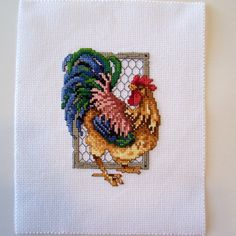 Finished Rooster Counted Cross Stitch by threadsandthings1 on Etsy, $30.00