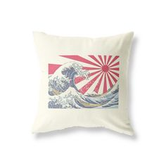 Vintage Style Cushion for use in the Living Room, Bedroom, Children's Playroom and more! Japanese Waves, Vintage Cushions, Playroom, Throw Pillows, Prints, Game Room Kids, Cushions, Play Rooms, Decorative Pillows