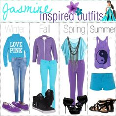 Winter, Fall, Spring, and Summer outfits inspired by Jasmine.