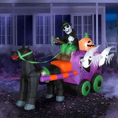 This 5.5' Tall x 8.5' Long Airblown Inflatable Halloween Wild Stage Coach Scene self-inflates in seconds. It's easy to set up and store. Stakes and tethers are included.  5.5' Tall x 8.5' Long Airblown Inflatable Halloween Wild Stage Coach Scene:      Measures 5.5'H x 8.5'L     Lights up     Weather-resistant design     Self-inflates in seconds     Deflates down for easy storage     Quick and easy set-up     Stakes and tethers included