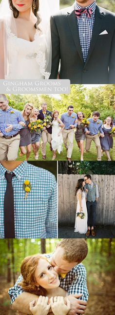 Gingham Grooms, and Groomsmen too! Dream wedding attire me and my groomsmen!!