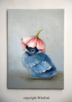 balance due reserved for CARRIE Baby Bluejay Painting by 4WitsEnd