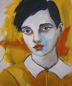 ARTFINDER: portrait - young model by richard  kuhn - acrylics on Canvas size 23.62 x 27.55  Grösse: 60 x 50