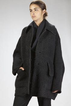 Boboutic | wide pea coat in heavy but soft extra fine merinos wool, yak, super kid mohair and elastane cloth | #boboutic