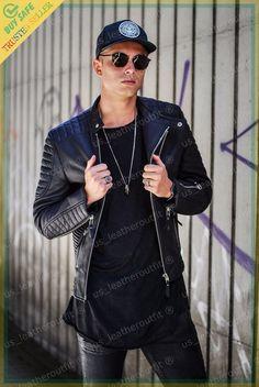 Men Leather Jacket Black Slim Fit Biker Motorcycle Genuine Lambskin Jacket MJ3 #USLEATHEROUTFIT #Motorcycle Lambskin Leather Jacket, Leather Skin, Jacket Men, Bomber Jacket, Biker, Motorcycle Jacket, Slim, Mens Fashion, Casual