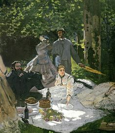 Dejeuner sur l'Herbe, Chailly, 1865 (central panel) (oil on canvas) by Monet, Claude (1840-1926); ( info.: Gustave Courbet (1819-77): with Frederic Bazille (1841-70); Courbet to the left and Bazille in the centre);