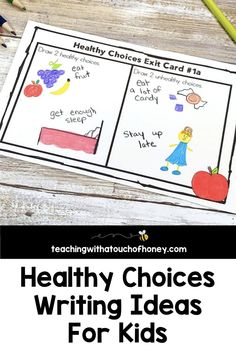Looking for ways to integrate writing into your unit on making healthy choices? Students can write mini books, keep a journal, use hot seat questions, extend the anticipation guide, and complete exit cards. Health Activities, Spring Activities, Writing Activities, Kids Writing, Writing Ideas, Learning Styles, Fun Learning, Keeping A Journal, Grade 2