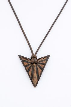 "Art natural eco brown women pendant  ""The Arrow"" from coconut shell gift for her boho abstract wood carving hand carved two tone - $32.00 USD"