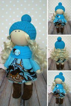 Fabric doll Blue doll Rag doll Baby doll Handmade doll Tilda doll Butterfly doll Muñecas Art doll Bonita Cloth doll Textile doll by Olga G