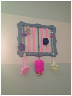 Easy DIY hair clip holder. Headband storage. Hair accessory organizer. Baby girl room decor. I made this for baby Lucy