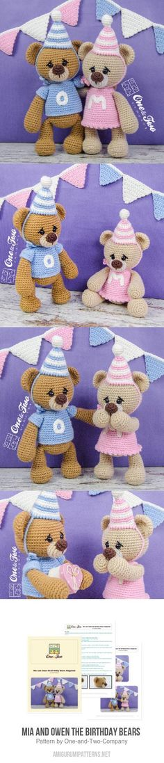 Mia and Owen the Birthday Bears  amigurumi pattern