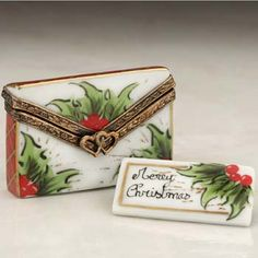 Limoges Chamart Christmas Letter with Holly