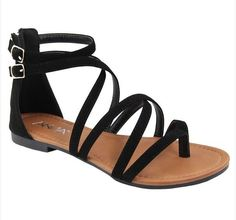"These cute and comfortable sandals feature buckled straps, back zipper for easy entry and thong sandal style. 0.25"" Heel Dual buckled straps at ankle Back zipper for easy entry Thong sandal style"