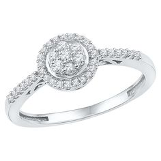 1/4 CT. T.W. Round Diamond Prong Set Cluster Fashion Ring in 10K White Gold
