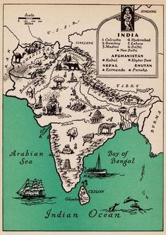 Vintage INDIA Picture Map Print Afghanistan Nepal Map Gallery Wall Art Wedding Gift for Anniversary Birthday