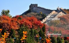 Caption:BEIJING, CHINA - OCTOBER 19: (CHINA OUT) Tourists enjoy autumn views at the Badaling Great Wall on October 19, 2013 in Beijing, China