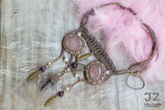 Macrame hecha a mano hadas boho rosa rosa cuarzo por JuliaZnaidaArt