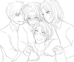 Hetalia ~ England, Canada, America and France