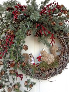 Squirrel Fall Wreath for Door Christmas by AdorabellaWreaths