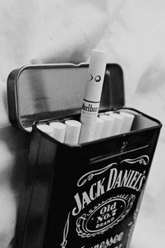 I just like the tin, Metal Jack Daniels Cigarette Box ~SheWolf★ Rauch Fotografie, Fille Gangsta, Cigarette Aesthetic, Smoking Kills, Smoke Photography, Cigarette Box, White Aesthetic, Liquor, Whiskey