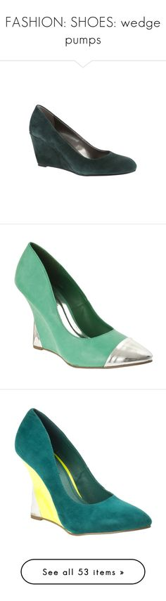 """FASHION: SHOES: wedge pumps"" by eva-malecka ❤ liked on Polyvore featuring shoes, dark green suede, bandolino shoes, high wedge shoes, round cap, high heel wedge shoes, suede leather shoes, pumps & heels, white and synthetic leather shoes"
