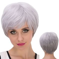Short Oblique Bang Fluffy Straight Synthetic Wig 14.31 USD