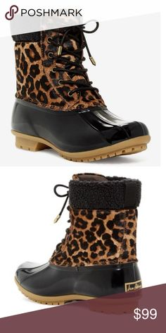 """Sam Edelman Leopard Duck Boots NWOT. Sam Edelman Leopard duck boots. Get wild and exotic in the rain with these chic rain boots. Soft faux fur too accent and cheetah print. Round toe, Lace up vamp. Approx 6.5"""" shaft and 1"""" heel. Never worn, no box. Fits true to size. No modeling/trades. Sam Edelman Shoes Winter & Rain Boots"""
