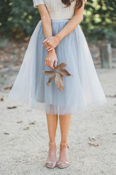 Morning Lavender - Jacqueline Grey Tulle Midi Skirt