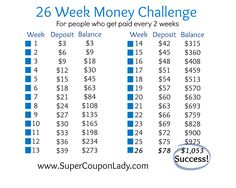 "26 week money challenge for people who get paid every two weeks.  To make this easier for me, I start with the largest deposits in January so the ""payments"" get smaller as the year goes on.   No big money crunch near the holidays!"