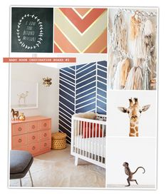 Nursery Mood Board - Corals, Navy + White with Baby Animals